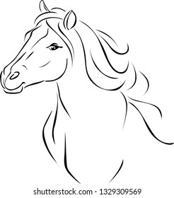 Horse Head Illustration Black Sketch - Vector