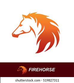 Horse head illustration with a mane looking like a fire flame. Speed, freedom and strength symbol. Can be used for sports logo or emblem design or as a tattoo