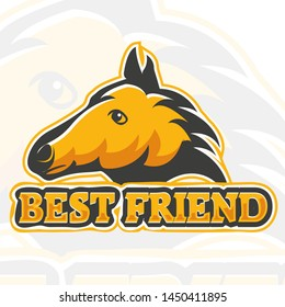 Horse head in logo design with a short quote, saying best friend