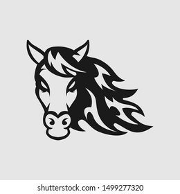 Horse head logo gaming esport in black and white