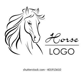 Horse Head Logo, Vector Illustration, hand drawn style.