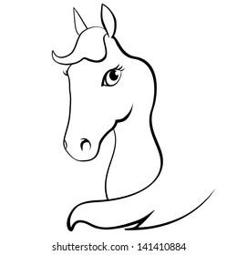 Horse head on white background Black horse silhouette isolated on white for design. Vector illustration