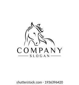 HORSE HEAD OUTLINE logo designs, good for mascot, delivery, or logistics, logo industry, flat color style with black.
