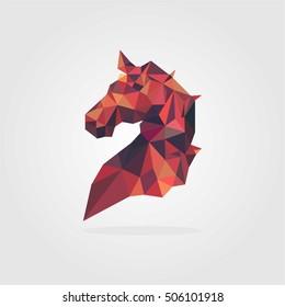 HORSE HEAD POLYGONAL LOW POLY GEOMETRIC LOGO TEMPLATE EMBLEM