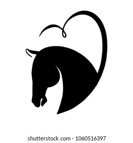 Horse head silhouette. Black and white vector logo. A horse in heart.