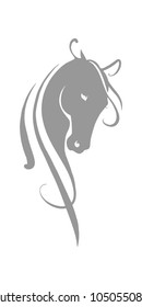 Horse head silhouette. Gray and white illustration of a horse. Vector stylized linear drawing.