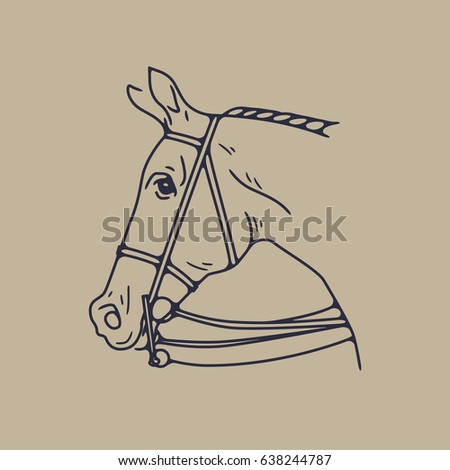 Horse Head Tattoo Flash Hipster Drawing Stock Vector Royalty Free