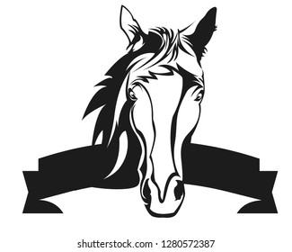 Horse head with text banner
