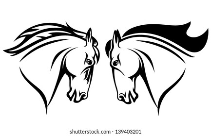 horse head vector design - black and white outline