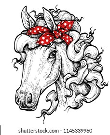 Horse head. Horse wearing bandana. Hand drawn portrait. Vector illustration