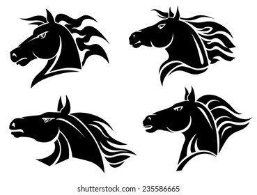 Horse heads for mascot and tattoo design