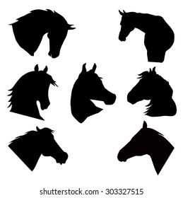 Horse Heads Silhouette Vector Set