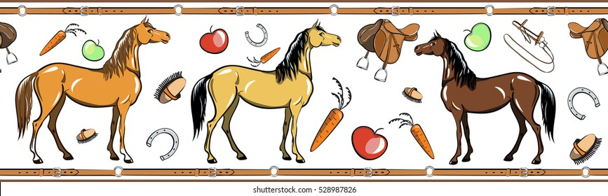 Horse and horseback riding tack tool seamless border. Equine sport in the leather belt frame. Cartoon Saddle, brush, bridle, stirrups, horseshoe. Hand drawing vector background.