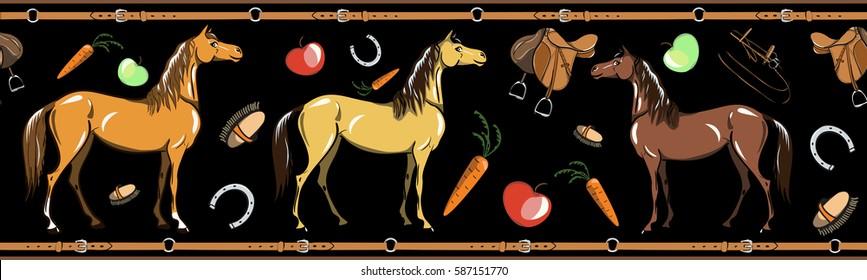 Horse and horseback riding tack tool seamless border on black. Equine sport in the leather belt frame. Cartoon Saddle, brush, bridle, stirrups, horseshoe. Hand drawing vector background.