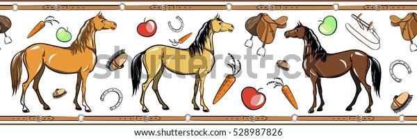 Horse Horseback Riding Tack Tool Seamless Stock Vector Royalty Free 528987826
