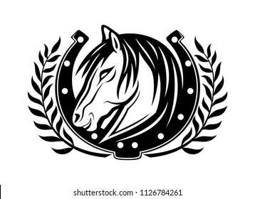 Horse and horseshoe on a white background.