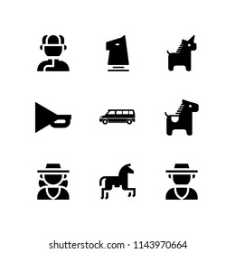 horse icon set with mongolian, horseriding and horse vector icons for web and graphic design