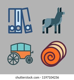horse icon set. vector set about blinder, donkey, hay and chariot icons set.