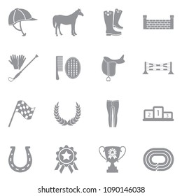 Horse Icons. Gray Flat Design. Vector Illustration.