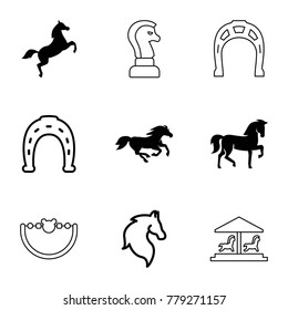 Horse icons. set of 9 editable filled and outline horse icons such as horse, baby toy