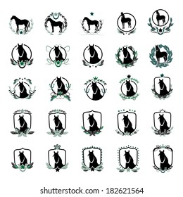 Horse Icons Set - Isolated On White Background - Vector Illustration, Graphic Design Editable For Your Design