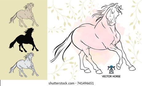 horse illustrated black and white outline and silhouette