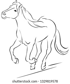 Horse Illustration Black Sketch Running - Vector Outline