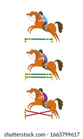 Horse info graphic poster design. Cartoon style horse and rider with decorate elements. Use it for print or web equestrian poster design.