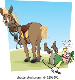 Horse And Jockey. A cartoon horse and jockey ready to race - sort of!