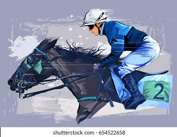 Horse With Jockey On Grunge Backround