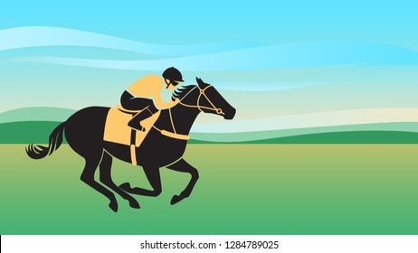 Horse with jockey. Horse racing. Silhouette of rider on a colored background