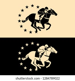 Horse with jockey and stars frame. Horse racing. Silhouette of rider. Winner. Vector Logo Template