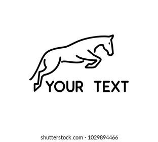 horse jump animal line logo design illustration