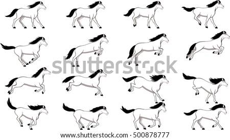 Horse Jump Digital Jumpsprites Poses Jumpingequine Stock Vector ...