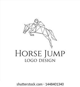 horse jump line logo design