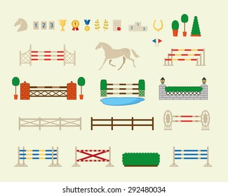 Horse jumping obstacle arena race