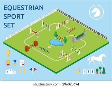 Horse Jumping obstacle green arena