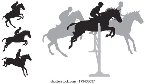 Horse jumping silhouettes, Equestrian sport Show jumping Horse and rider silhouettes in vector, The Sport of Kings