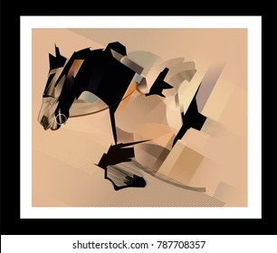Horse jumping - vector illustration