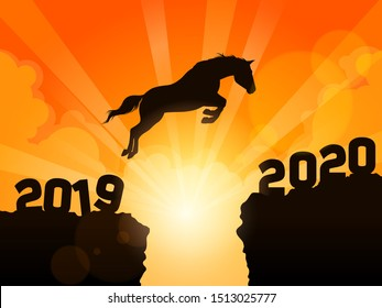 a horse jumping from year 2019 to the New Year 2020 - Happy New Year 2020