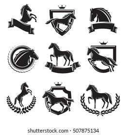 Horse labels and elements set. Vector