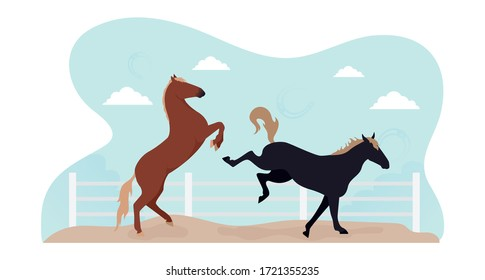 A horse in levada. Illustration of two horses jumping in a levada behind a fence. Image horses frolic in levada