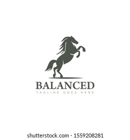 horse logo balanced, with skittish style vector