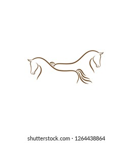 Horse logo design illustration, Horse silhouette vector, Horse vector inspiration, Vector of a horse on white background.