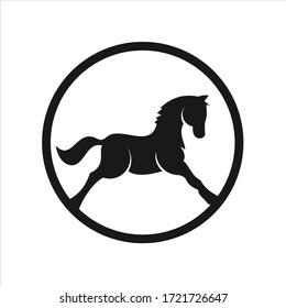 Horse logo emblem template mascot symbol. Vector Vintage Design Element.