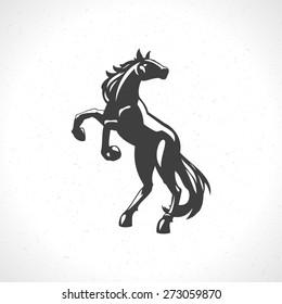 Horse logo emblem template mascot symbol for business or shirt design. Vector Vintage Design Element.