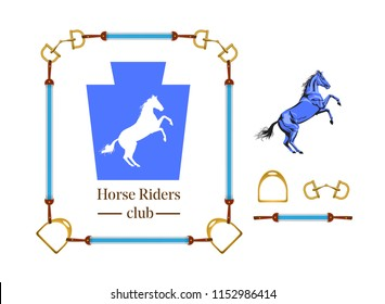 A horse logo is heraldic design with equipment elements. Vector illustration.