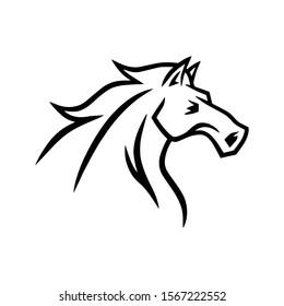 Horse Logo Mascot Vector Line Stylized Illustration