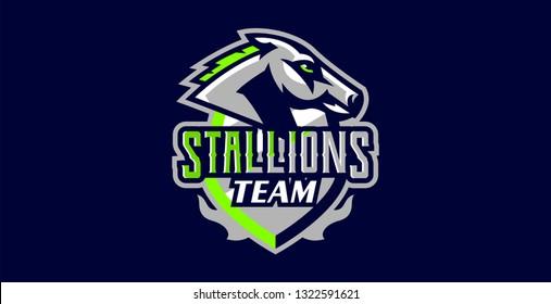 Horse logo. Sports logos of horses, racing stallions. Shield, text, mascot, head of a stallion. Vector illustration