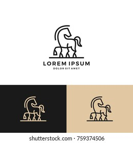 horse logo vector icon line art outline download monoline